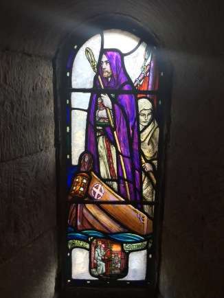 St Columba as depicted in a small stained glass window at St Margarets' Chapel in Edinburgh Castle (2018)