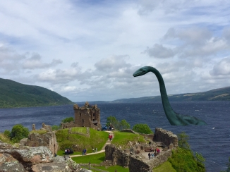 The Loch Ness Monster at Urquhart Castle; the photograph was taken - and modified ;) - by me. (2016)